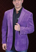 SKU#PUE3334 Mens Cotton/Rayon 2 Button Purple Sport Coat Notch Lapel Side Vents $99