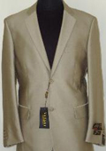 Mens Designer 2-Button Shiny Beige Sharkskin Suit
