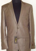 Mens Designer 2-Button Shiny Cocoa Brown Sharkskin Suit