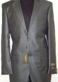 Mens Designer 2-Button Shiny Charcoal Gray Sharkskin Suit