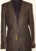 Mens Designer 2-Button Shiny Dark Brown Sharkskin Suit