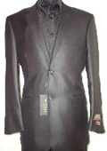 Mens Designer 2-Button Shiny Black Sharkskin Suit