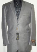 Mens Designer 2-Button Shiny Silver Gray Sharkskin Suit