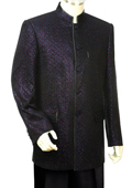 SKU#OBL1932 Men's Unique Nehru Styled Suit - Metallic Finish Black/Orange