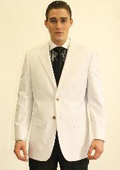 SKU#WHT5811 Men's 2 Button White Dinner Jacket Blazer $89