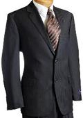 Black Pinstripe Wool Italian