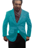 SKU#TUR5551 2 Btn Notch Collar Single-Breasted Fully Lined Velvet ~ Velour Blazer Turquoise ~ Light Blue Stage Party $99