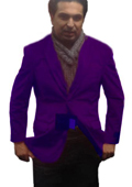 SKU#PUR0111 Mens 2 Btn Notch Collar Single-Breasted Fully Lined Velvet ~ Velour Blazer Purple $99