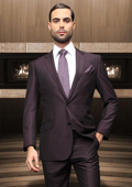 Button Plum Wool Suit