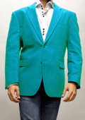 SKU#TQS9916 Turquoise ~ Light Blue Stage Party Super 150'S Velvet Fabric Sport Coat $99