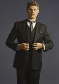 SKU#EMA0112 2 Button 3 Piece Peak Lapel Slim Fit Tuxedo Black