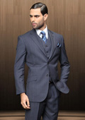 Mens 2 Button Vested 3 Piece Navy Blue Windowpane Plaid Suit $199