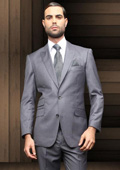 Button Charcoal Slim Fit