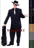 SKU#B662SO Double Breasted 6 on 2 Men's Any Color & Bold White Pinstripe Suit+Shirt & Tie $175