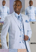 SKU#BLU8911 Mens 3 Button Seersucker Suit Blue $225