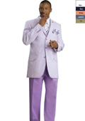 SKU#BLU8911 Mens 3 Button Seersucker Suit Lavender $225
