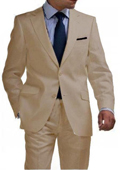 Light Weight 2 Button Tapered Cut Half Lined Flat Front Linen Suit Vented Tan ~ Beige