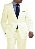 SKU#CRM8912 Light Weight 2 Button Tapered Cut Half Lined Flat Front Slim Fit Suit Vented Cream $275