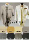 SKU T644trp Mens Fashion 3 Piece Window Pane Suit Stylish Mid Length 34 Inch 4 Button Jacket