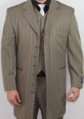 7 Button Zoot Suit Taupe Pin Striped Suit