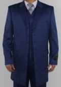 Men's 7 Button Zoot Suit Navy Tonal Window Pattern Suit