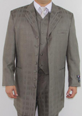 Men's 7 Button Zoot Suit Taupe Tonal Window Pattern Suit $149