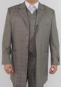 Men's 7 Button Zoot Suit Taupe Tonal Window Pattern Suit $149