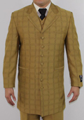 Men's 7 Button Zoot Suit Mustard Tonal Window Stitched Pattern Suit