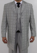 Men's 7 Button Zoot Suit Light Grey Tonal Window Stitched Pattern Suit