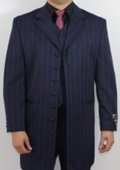Men's 7 Button Zoot Suit Blue Pin Striped Suit