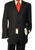 3 Button Black Suit
