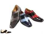 SKU#JR2496 Bolano Black / Red Mens Two Tone Dress Shoe $125