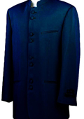 Mandarin Collar BANNED Collar Navy Blue Suit 8 Button Extra Fine Discount Sale Designer Suit $149