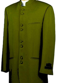 Mandarin Collar BANNED Collar Olive Green Suit 8 Button Extra Fine French Cut Suit $149