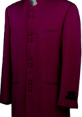 Mandarin Collar BANNED Collar Burgundy ~ Maroon ~ Wine Color Suit 8 Button Extra Fine Discount Sale Designer Suit $149