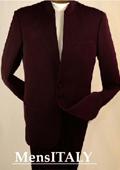 Split Collar Highest Quality Men Brown Mandarin Collar Two Button Suit $149