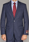Men's Side Vented Jacket & Flat Front Pants Navy Blue Pinstripe 2-Button Suit