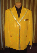 SKU#ES13 Men's Satin Shiny Sequin Jacket/Blazer In Gold $189
