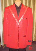 SKU#RED13 Men's Satin Shiny Sequin Jacket/Blazer In Red $189