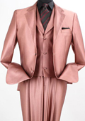 SKU#EW21 3PC 2 Button Sharkskin Suit Lt Burg/Rust $165