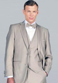 Beige Framed Notch Lapel with Vest Microfiber Wedding Tuxedo $185