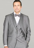 Light Gray Framed Notch Lapel with Vest Microfiber Wedding Tuxedos $159
