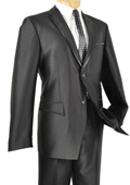 SKU#MAC81 Tapered Leg Lower Rise Pants & Get Skinny Slim Fit Black Framed Lapel Two Button Prom Tuxedo