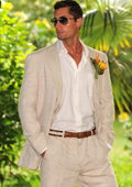 SKU#DEF67 Men's 100% Linen Suit in Natural $199