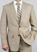 SKU#EWS3 Elegant, Natural & Light Weight 2-Btn Notch Lapel Real Linen Suit Spring/Summer Beige $149