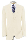 Men's 2 Button Poly~Rayon Wool Feel Light Weight Soft & Cool Vested Ivory Suit with Pleated $199
