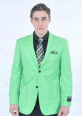 SKU#LMK82 Men's Fitted Premium Lime Mint Green Blazer $139