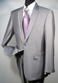 Button Business Suit Silver