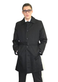 Mens Black Belted Trench