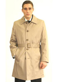 Mens Cream Belted Trench